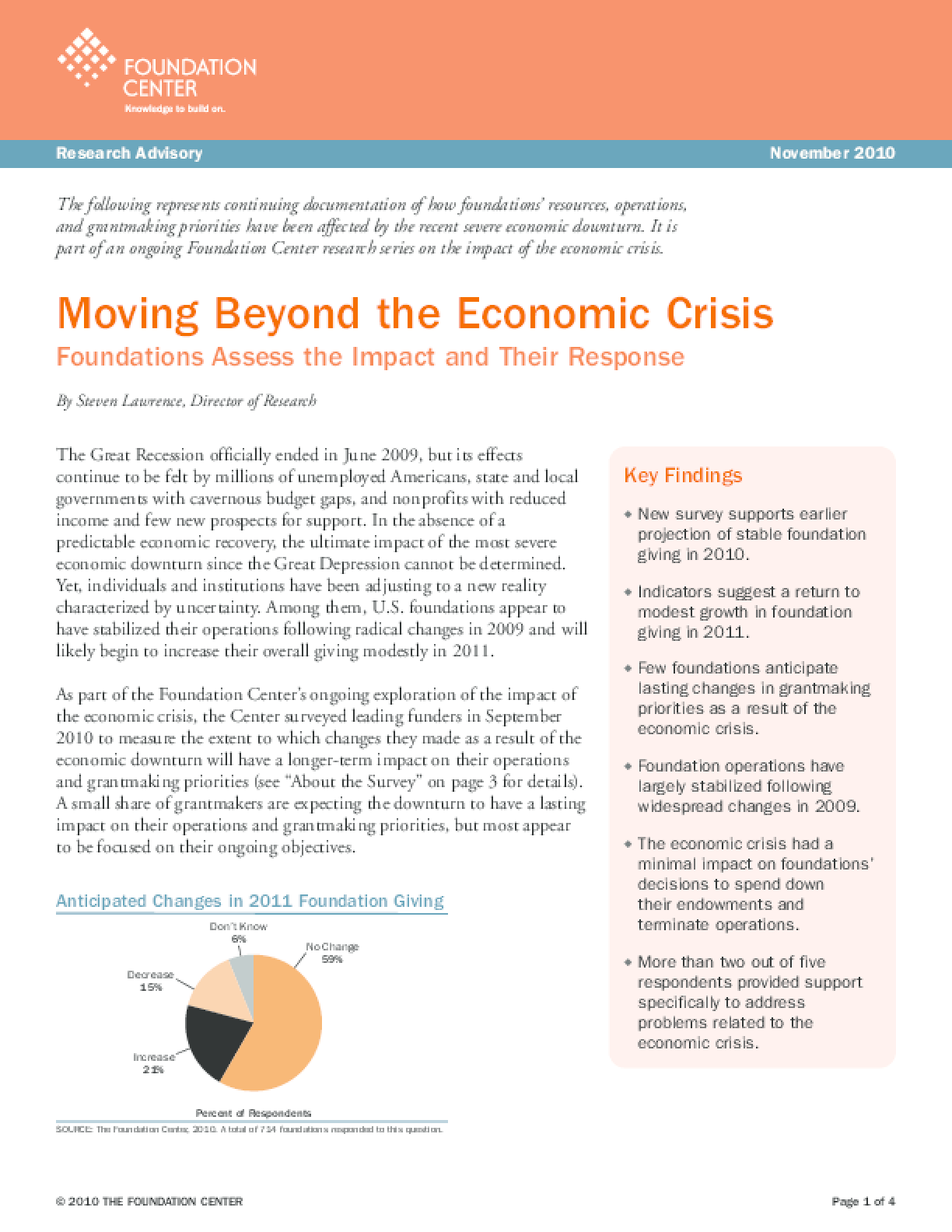 Moving Beyond the Economic Crisis: Foundations Assess the Impact and Their Response