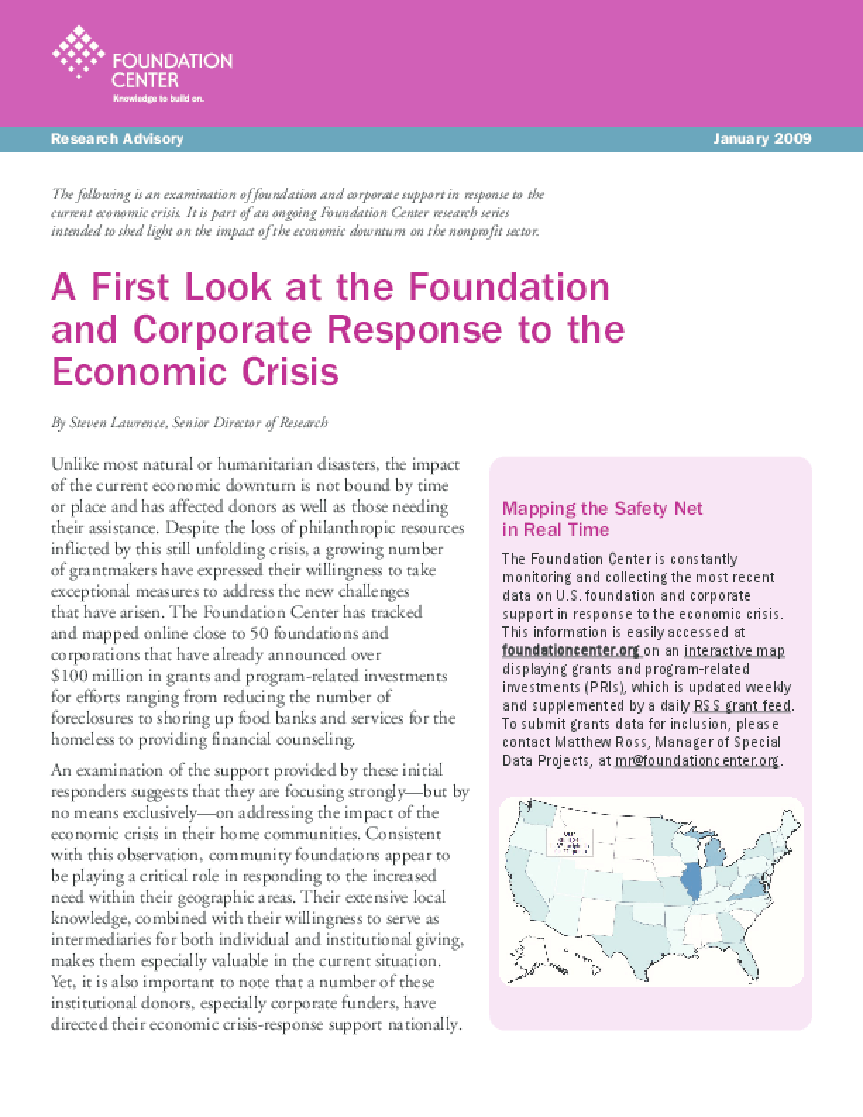 A First Look at the Foundation and Corporate Response to the Economic Crisis