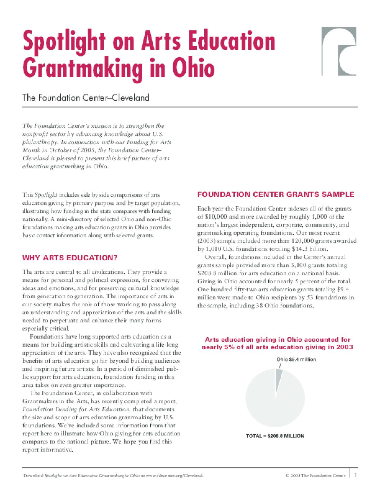Spotlight on Arts Education Grantmaking in Ohio