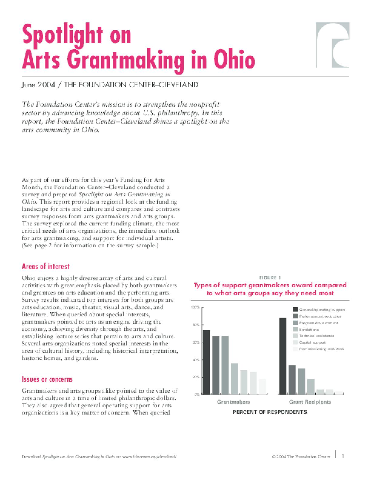 Spotlight on Arts Grantmaking in Ohio 2004