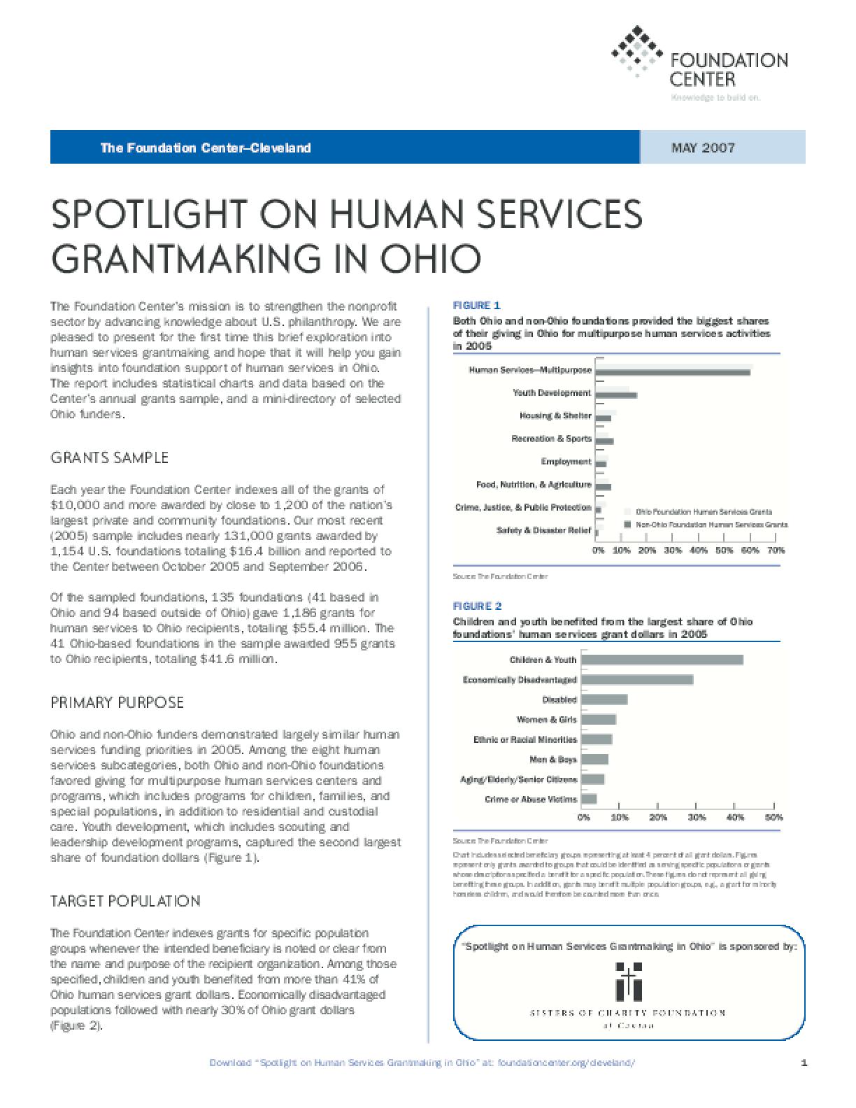 Spotlight on Human Services Grantmaking in Ohio