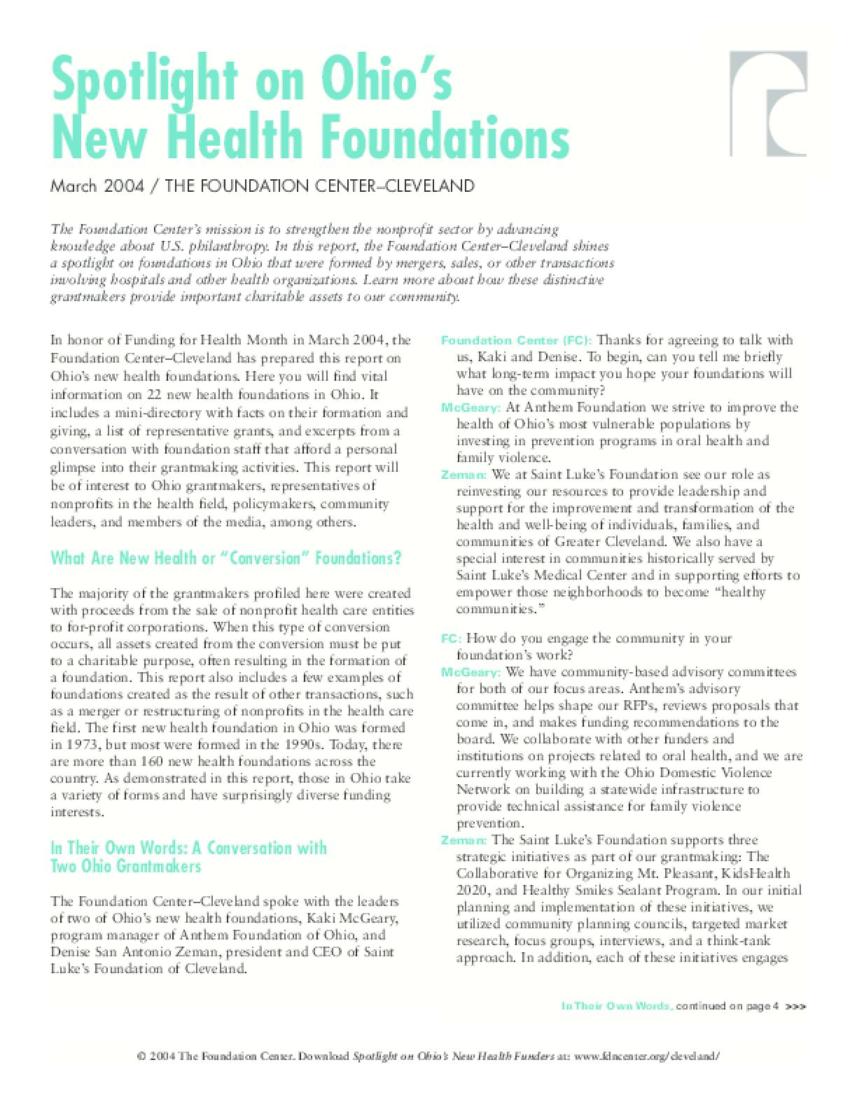 Spotlight on Ohio's New Health Foundations