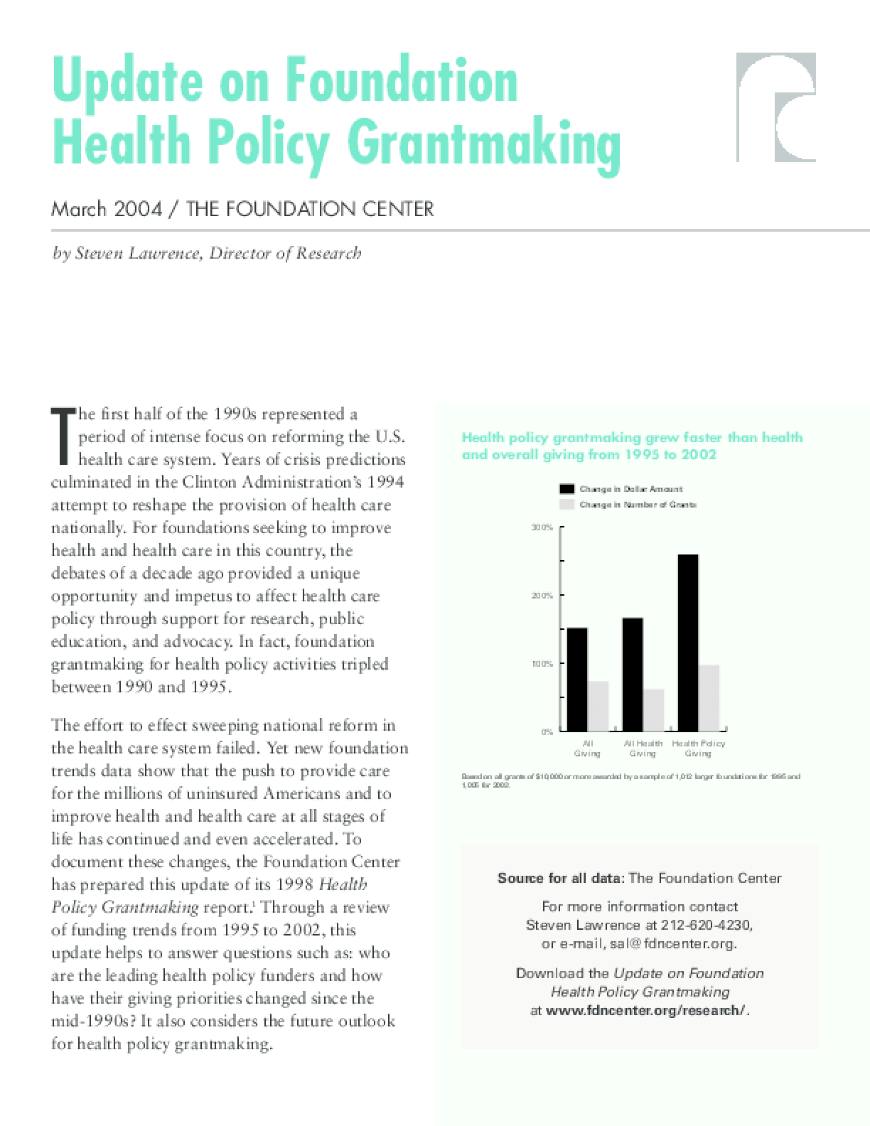 Update on Foundation Health Policy Grantmaking