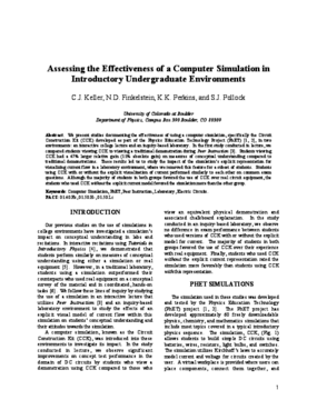 Assessing the Effectiveness of a Computer Simulation in Introductory Undergraduate Environments