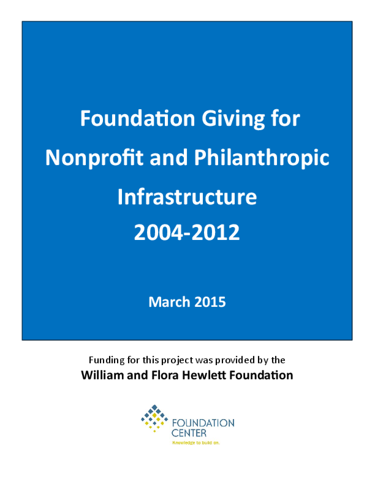 Foundation Giving for Nonprofit and Philanthropic Infrastructure 2004-2012