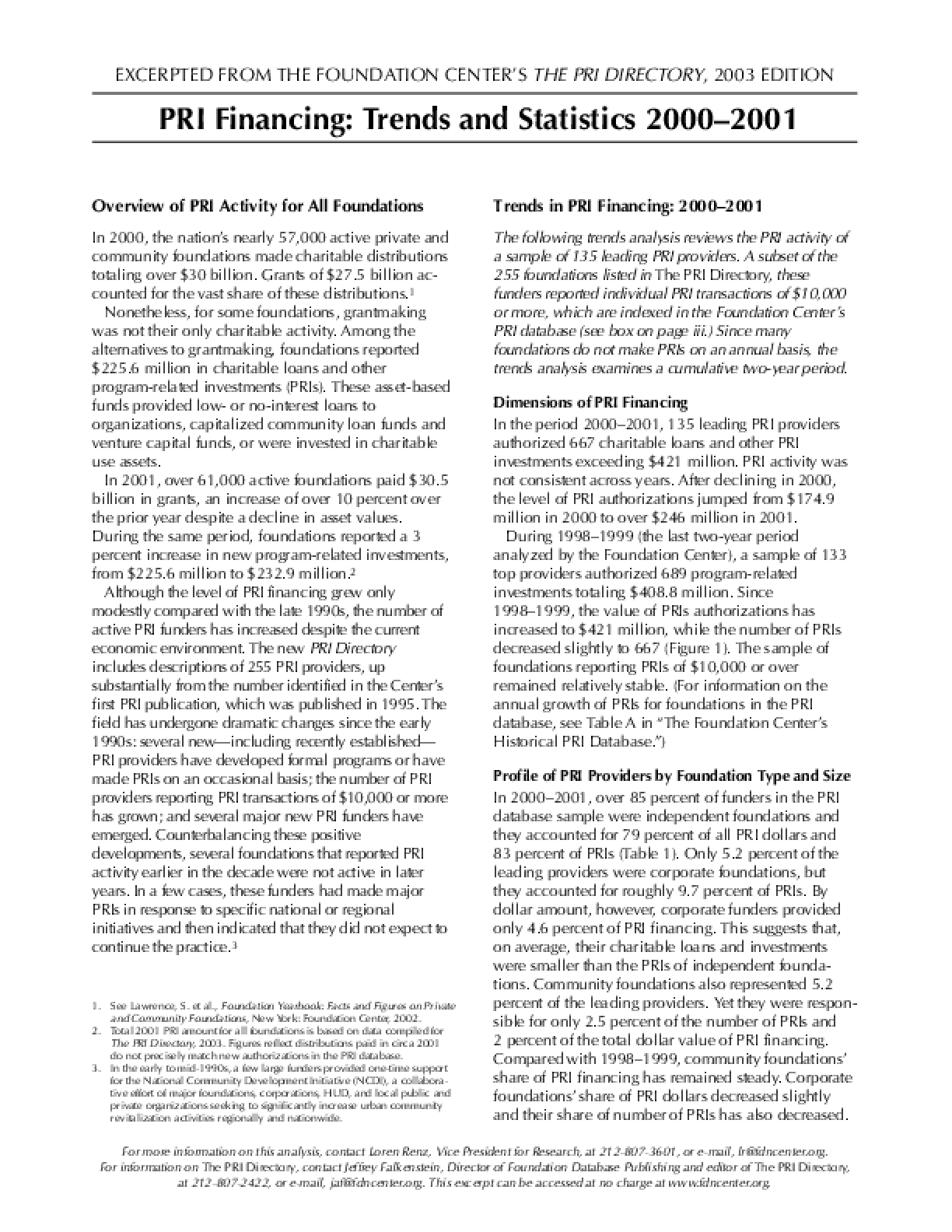 PRI Financing: Trends and Statistics 2000–2001