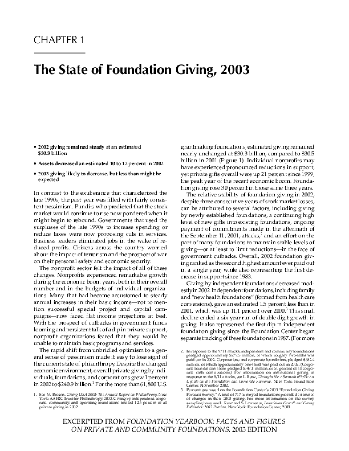 The State of Foundation Giving, 2003