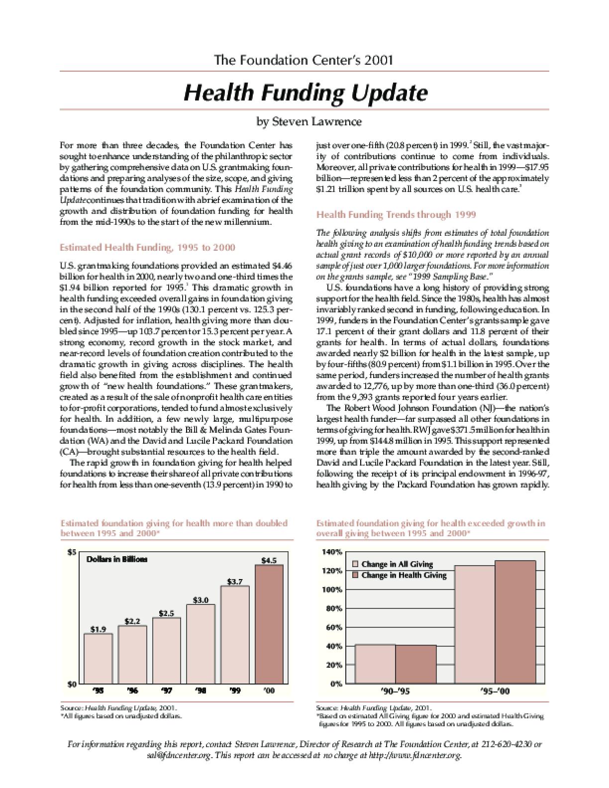Health Funding Update, 2001