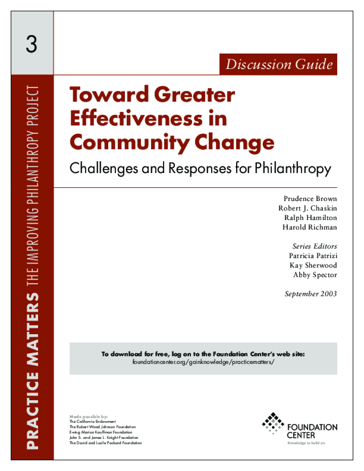 Toward Greater Effectiveness in Community Change: Challenges and Responses for Philanthropy - Discussion Guide