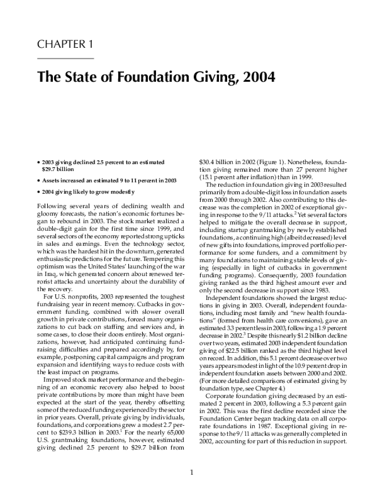 The State of Foundation Giving, 2004