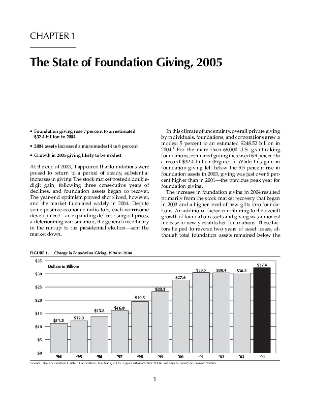 The State of Foundation Giving, 2005
