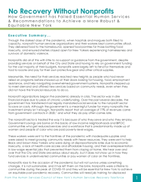 No Recovery Without Nonprofits: How Government has Failed Essential Human Services & Recommendations to Achieve a More Robust & Equitable New York
