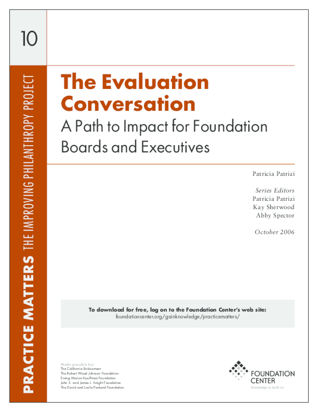 The Evaluation Conversation: A Path to Impact for Foundation Boards and Executives